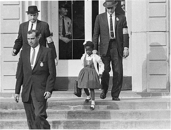 Ruby Bridges escorted by US Marshalls